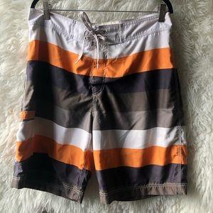 American Eagle Swim Shorts - Brown Stripped - L